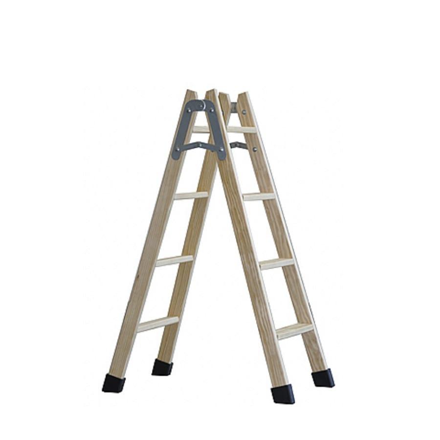Escalera de tijera de madera 200/Z09 con peldaños planos 1 | Potspintura.com