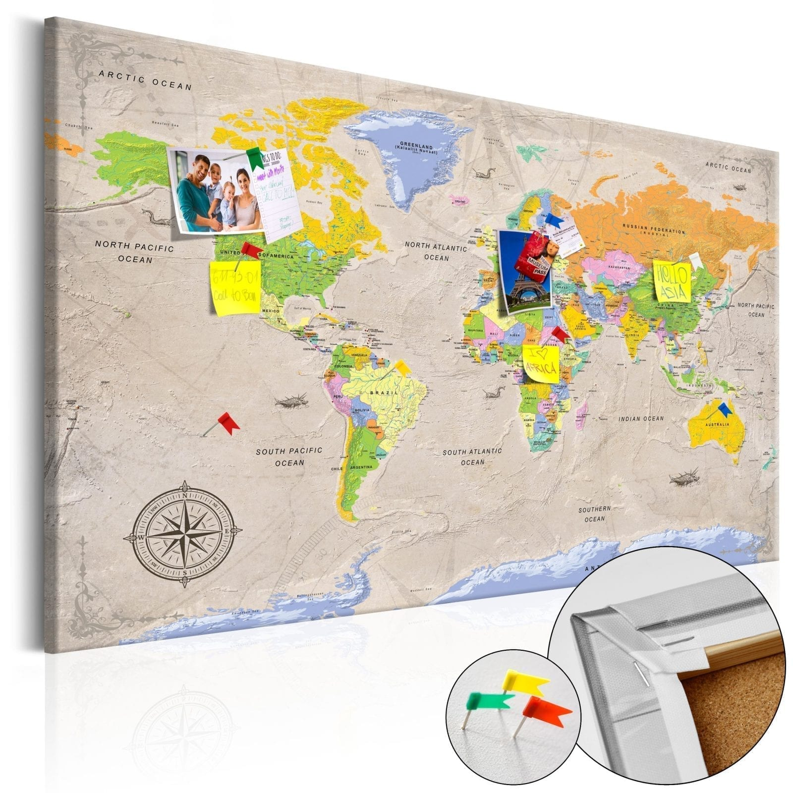 Tablero de corcho - Maps: Vintage Style 1   Potspintura.com