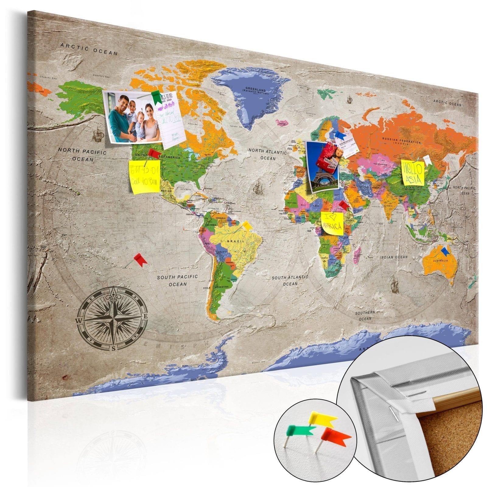 Tablero de corcho - World Map: Retro Style 1 | Potspintura.com