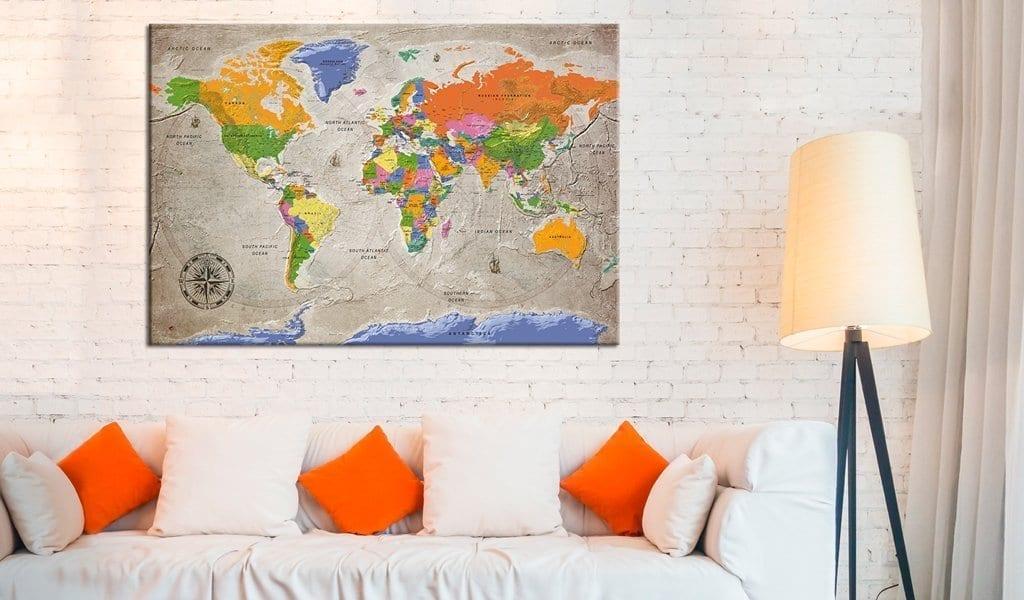 Tablero de corcho - World Map: Retro Style 2 | Potspintura.com