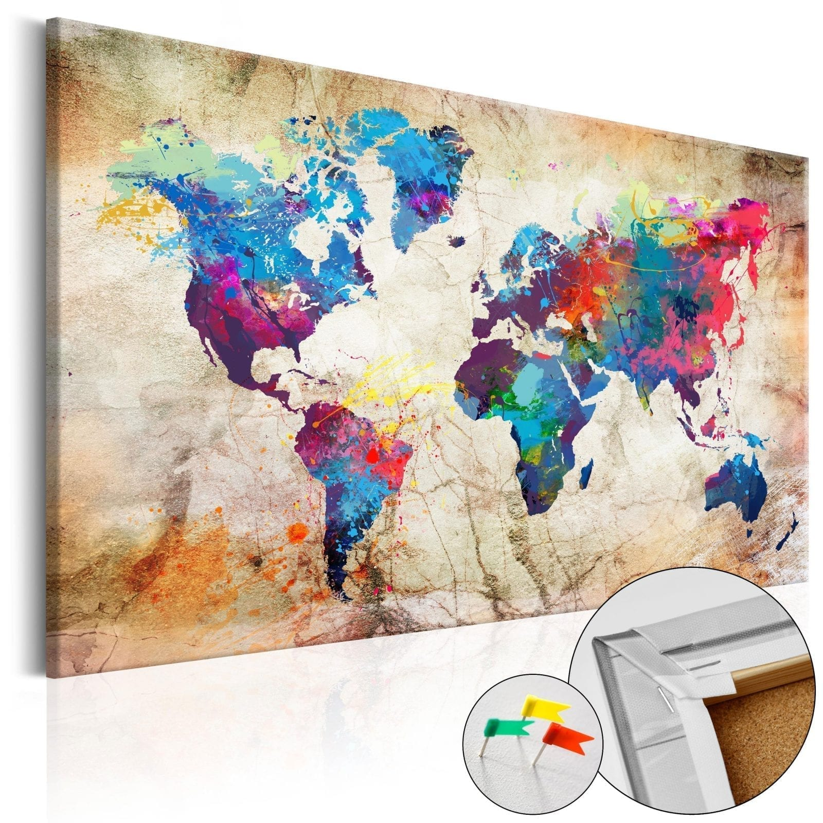 Tablero de corcho - World Map: Urban Style 1 | Potspintura.com