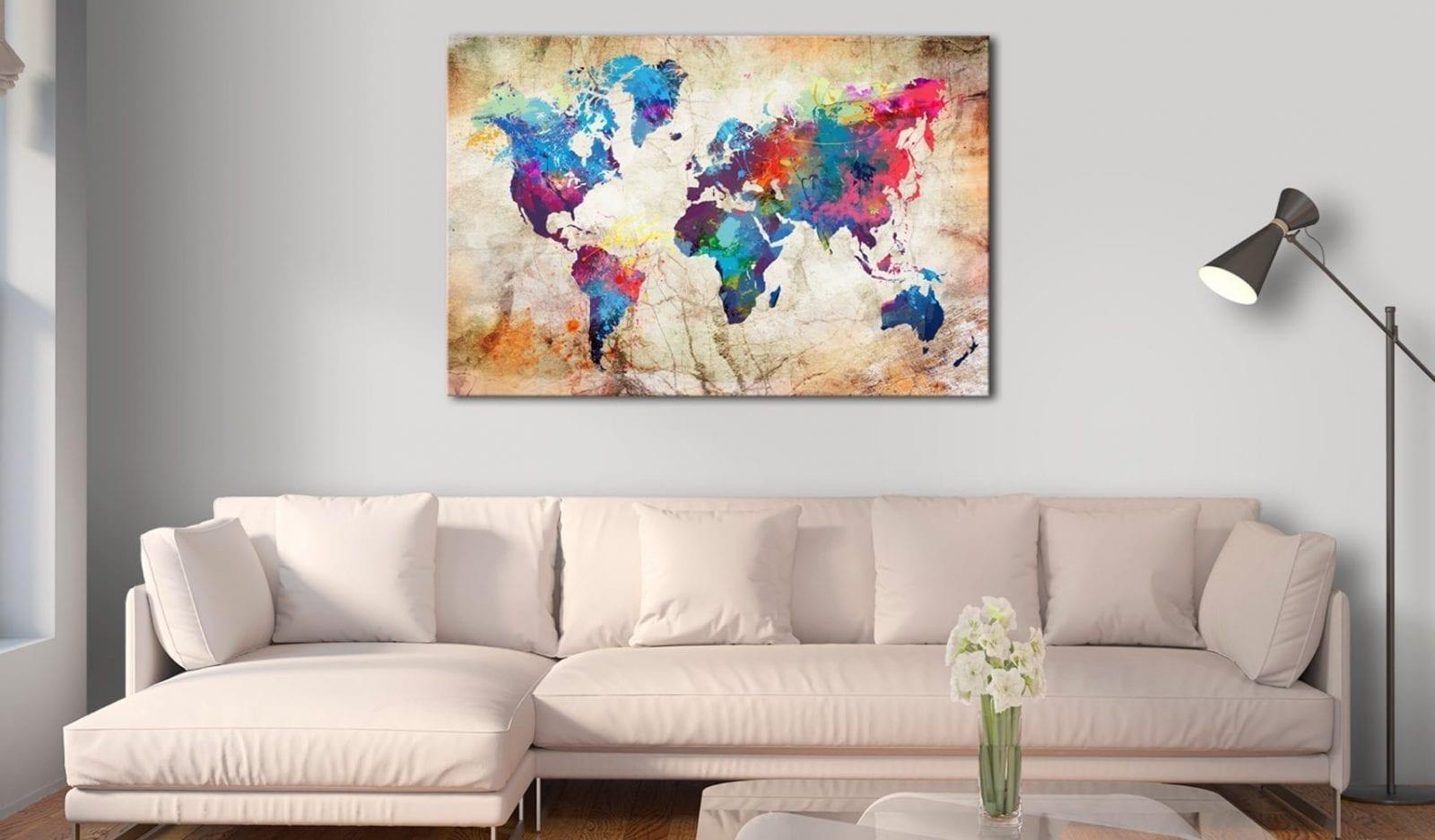 Tablero de corcho - World Map: Urban Style 2 | Potspintura.com