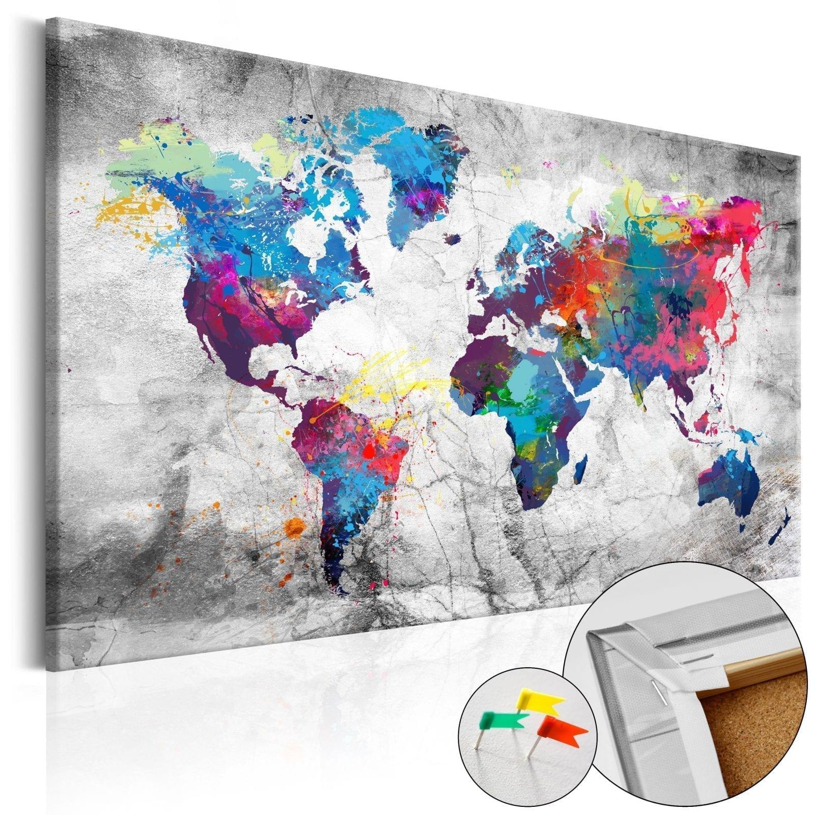 Tablero de corcho - World Map: Grey Style 1 | Potspintura.com