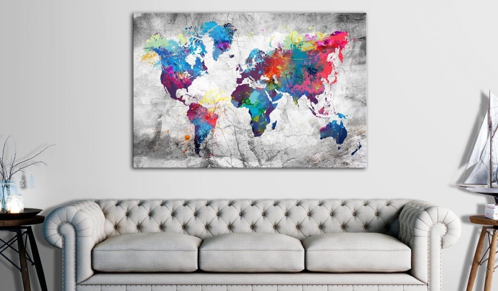 Tablero de corcho - World Map: Grey Style 2 | Potspintura.com