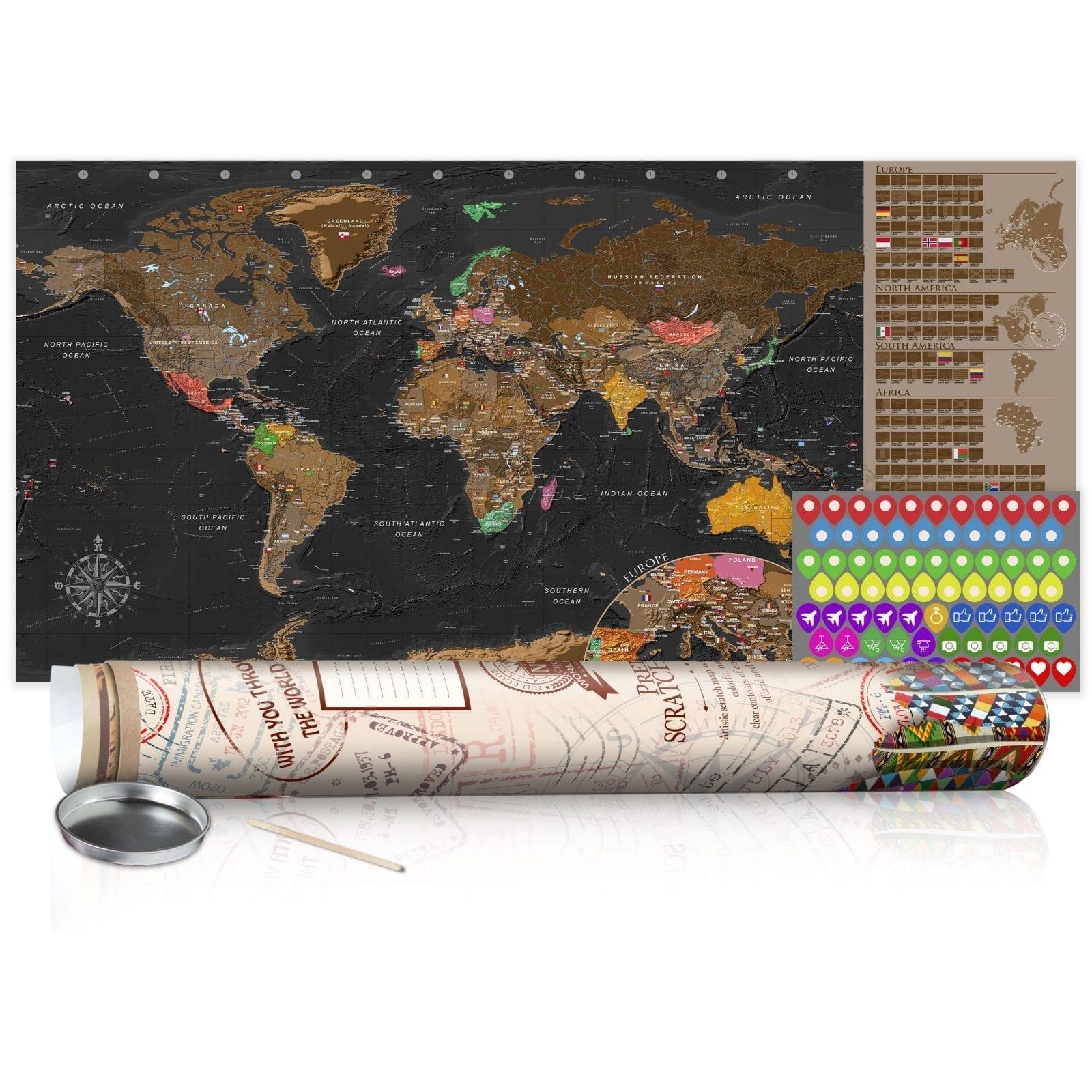 Mapa para rascar marrón 1   Potspintura.com